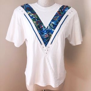 VINTAGE 80s Blue Western Inlay Shirt